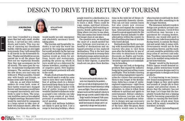 Design To Drive The Return Of Tourism article in New Indian Express
