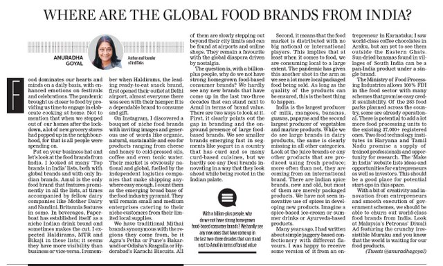 Where are the Global Food Brands from India, New Indian Express Nov 18, 2020