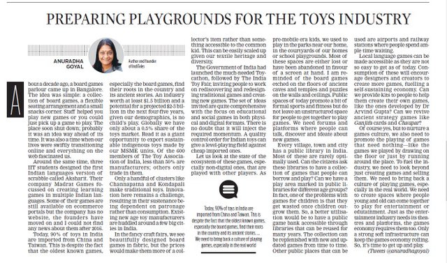 Preparing Playgrounds for Toys Industry published in New Indian Express Newspaper