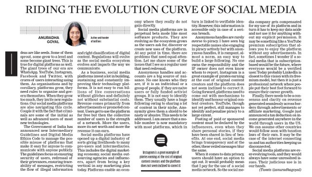Riding the evolution curve of social media published in New Indian Express