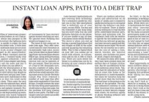 Instant Loan Apps, Path to a Debt Trap published in New Indian Express