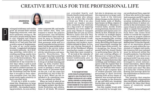 Creative rituals for professional life new indian express