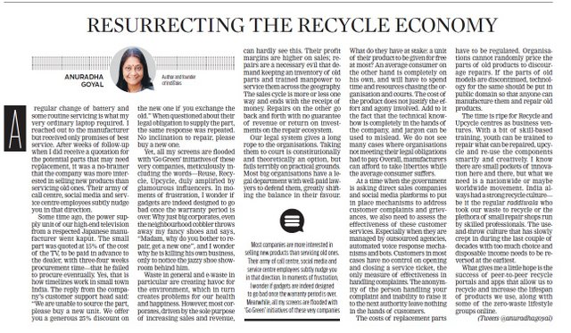 Resurrecting the Recycle Economy new indian express