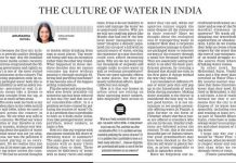 Culture of Water in India in New Indian Express